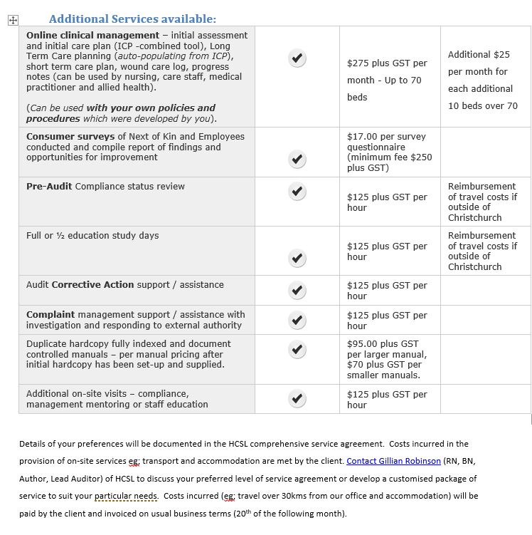 Service Agreement Additional services June 2019